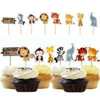 24pcs Jungle Animal Cupcake Toppers Birthday Party Decoration Kids Baby Shower