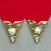 Collar Tips Gold Metal White Pearl 4prs Made in USA Western Square Dance Cowboy