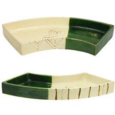 """20""""L Ikebana Vase Speckled Beige, Matte & Green Gloss Fan Shape/Made in Japan"""