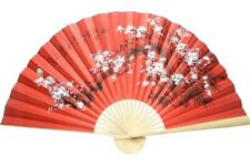 Bamboo Wall Hanging  Red Fan Oriental Style Cherry Blossom