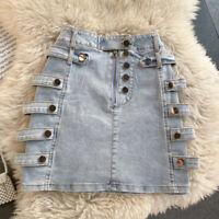 Women Denim A Line High Waist Jean Skirt Gothic Punk Short Bodycon Bandage Zip