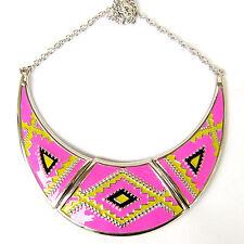 Moon Fluorescent Pink Yellow Black Enamel Bib Statement Collar Necklace Gift