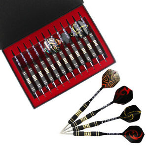 12PCS Set 23g Brass Tip Aluminum Barrel Nice Flight Darts Storage Case Gift