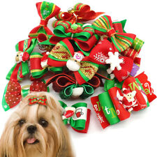 20/40/60/80/100 Puppy Pet Dog Christmas Hair Bows Grooming Accessory Xmas Gifts