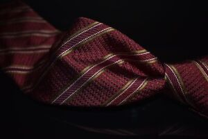 Luciano Barbera Made in Italy Thick Woven Red Deep Olive Piped Stripe Silk Tie
