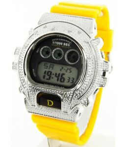 King Master Unisex Silver-tone Yellow Rubber Strap Diamond .12ct Digital Watch