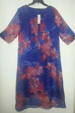 FLORYDAY STRAIGHT SHIFT DRESS size L NWT BLUE FLORAL SILKY CHIFFON