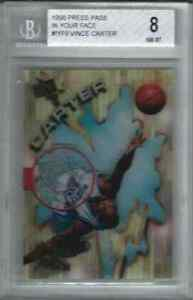 1998 Press Pass IN YOUR FACE Vince Carter ACETATE BGS 8 ROOKIE RC UNC Tar Heels