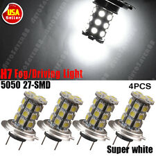 4x Super White 6000K H7 27-SMD 5050 Fog/Driving Daytime Running LED Light Bulbs
