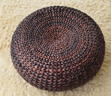 Round rustic floor cushions straw pouf seat ottoman home decor gift brown