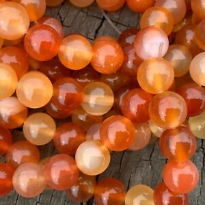 8mm Natural Orange Agate Carnelian 48 Round Beads 1mm Hole