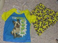 NWT - Childrens Place 2pc neon yellow & aqua puppy shorts pajamas - 18-24m boys