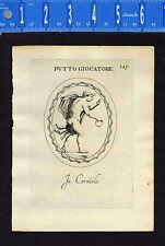 PUTTI- (Cherub) PLAYING RING GAME- Leonardo Agostini-Battista -1685 Engraving