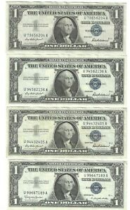 (4) Series 1957 $1 Silver Certificates - Lightly Circulated Condition