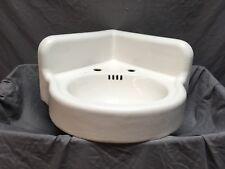 Antique Cast Iron White Porcelain Corner Sink Vintage Bathroom Old 436-18E