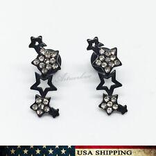 New Women's Black Stainless Steel Rhinestone Stars Ear Stud Earrings