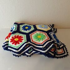 Crocheted Afghan Blanket Hexagon Granny Squares 3D Flowers Colorful Handmade