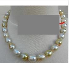 huge 13-14mm south sea baroque multicolor pearl necklace 18inch 14k