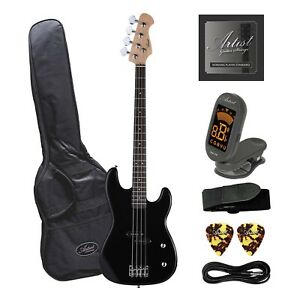Artist PB2 Black Electric Bass Guitar with Accessories
