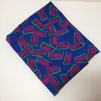 """4 Yards Blue Geometric Silky Blouse Fabric 44"""" wide Polyester"""