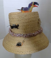Vintage Straw Hat with Toucan Bird, Snail, Shell Trim Novelty