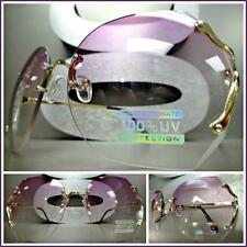 OVERSIZED VINTAGE RETRO Style SUN GLASSES Gold Rimless Frame Purple & Clear Lens