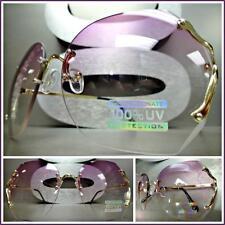 OVERSIZED VINTAGE RETRO Style SUN GLASSES Gold Rimless Frame Purple & Clear Lens