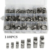140pcs collier de serrage en acier inoxydable tuyau à double oreille 7mm-21mm