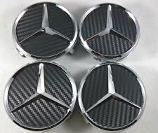 4X Mercedes Benz Center Caps Carbon Fiber Black 3 Inch/75mm Fit Model C E S