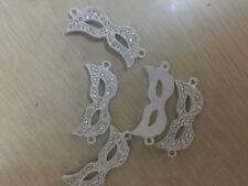 10pcs Curved Side Ways Crystal Alloy Rhinestone Mask Bracelet Connector Beads