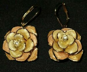 Rare JOAN RIVERS Limited Edition Crystal & Enamel Cabbage Rose Dangle Earrings