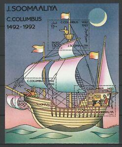 Somalia 1992 Christopher Columbus, ships MNH Block