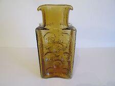 Beautiful Vintage Blenko Joel Myers Amber Art Glass Pinwheel Vase Decanter #6812