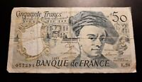 1989 - Banque De France - 50 Francs Banknote, Serial No. K58 077294 - circulated