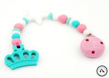♥ Beisskette aus Silikon ★ Krone/Stern in türkis/rosa/weiss - Silikonkette ♥