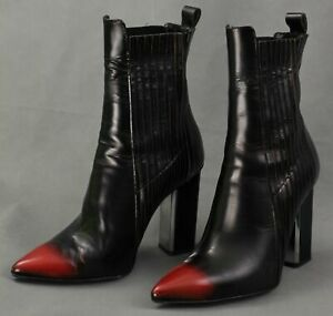 ALLSAINTS Ladies Black and Red Leather High Heel ANKLE BOOTS - Size EU 41 / UK 8