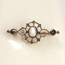 Victorian 10k Gold Jelly Belly Moonstone Ornate Scroll Design Brooch Pin 3.1g