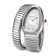 New Bulgari Serpenti Stainless Steel Quartz 35mm Silver Watch SP35C6SDS.1T