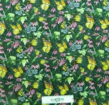 Patchwork Quilting Fabric BUTTERFLY GARDEN Sewing Material Cotton FQ 50X55cm NEW