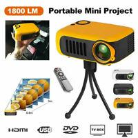 Portable 1080P HD Mini Projector Cinema LED LCD Home Theater Movie HDMI USB TF