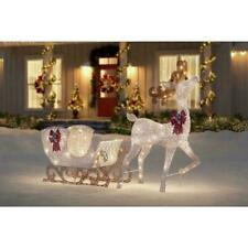 60 in. Life Size White Christmas Deer with Sleigh Yard Decoration with Led Light