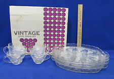 Snack Plates & Cups Vintage Anchor Hocking Grape Vine Glass Hospitality Set of 8