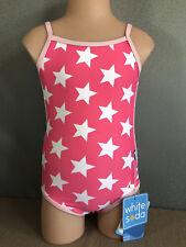 BNWT Girls Sz 6 White Soda Pink Stars Full Back One Piece Swim Bathers UPF 50+