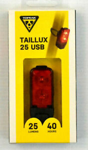 Topeak Taillux 25 Lumen USB Tail Light Rechargable 40 hour TMS097 2 LED Ships US
