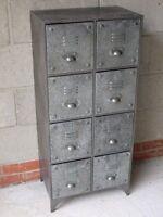 Grey Galvanised Metal 8 Drawers Industrial Cabinet Rustic Storage Organiser New