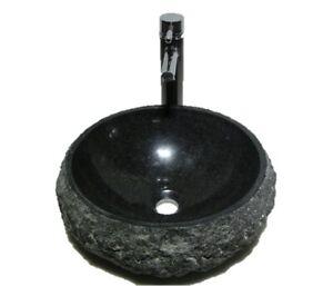 LUXURY Bathroom ROUND Black RUSTIC STONE GRANITE basin sink wash bowl HEAVY UK