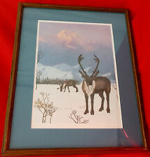 Reindeer in Winter Mountains-Signed/Matted/Framed-Limited 33/200-Lisa Nelson