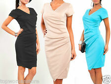 Party Patternless Synthetic Wrap Dresses