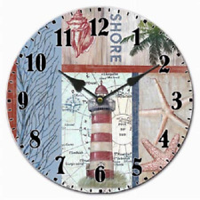 "LIGHTHOUSE CERAMIC WALL CLOCK Shore 9 3/4"" Coral Palm Starfish Charts"