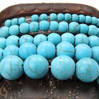 Blue Round Turquoise Gemstone Spacer Loose Beads Charms DIY Jewelry Making